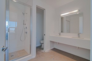 white shower glass door