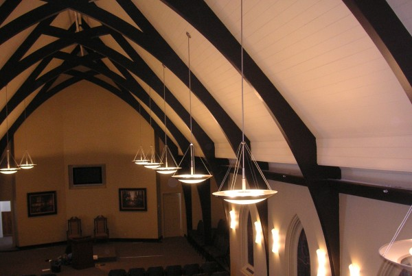 accent lighting in barn chapel architect